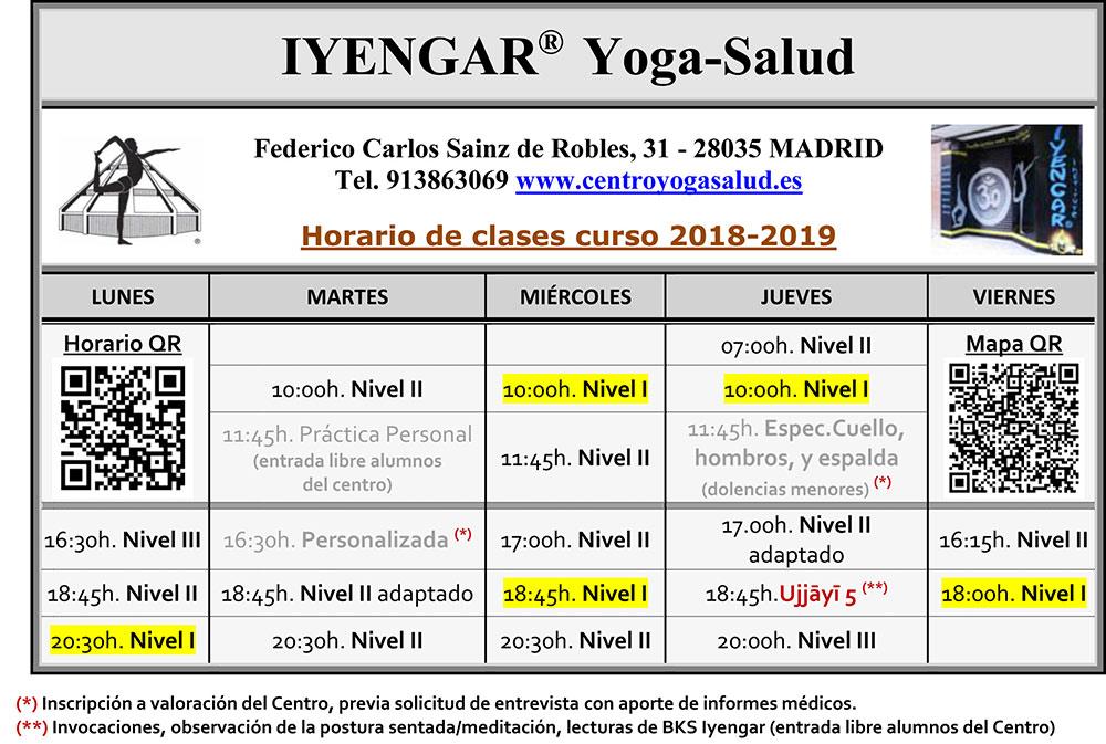 Horario de clases 2018-2019
